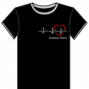 "T-Shirt noir avec un coeur et son battement, ""Awaken Heart"",de l'association Fatherheart France."