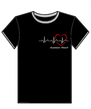 "T-Shirt noir avec un coeur et son battement, ""Awaken Heart"",de l'association Fatherheart France."