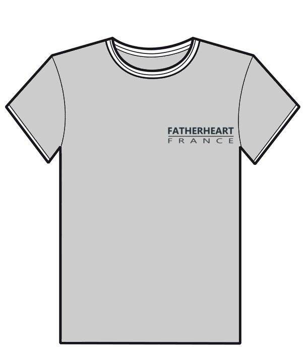 T-Shirt gris avec le logo en noir de l'association Fatherheart France.