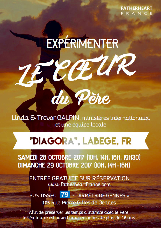 Flyer de l'évènement -Expérimenter le coeur du Père- organisé par l'association Fatherheart France pour le 28 et 29 Octobre 2017